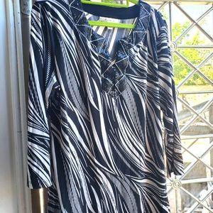 Women's Black White Flowy Sequin Tunic Top Blouse